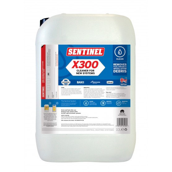 10 Litre Sentinel X300 Cleaner for New Systems
