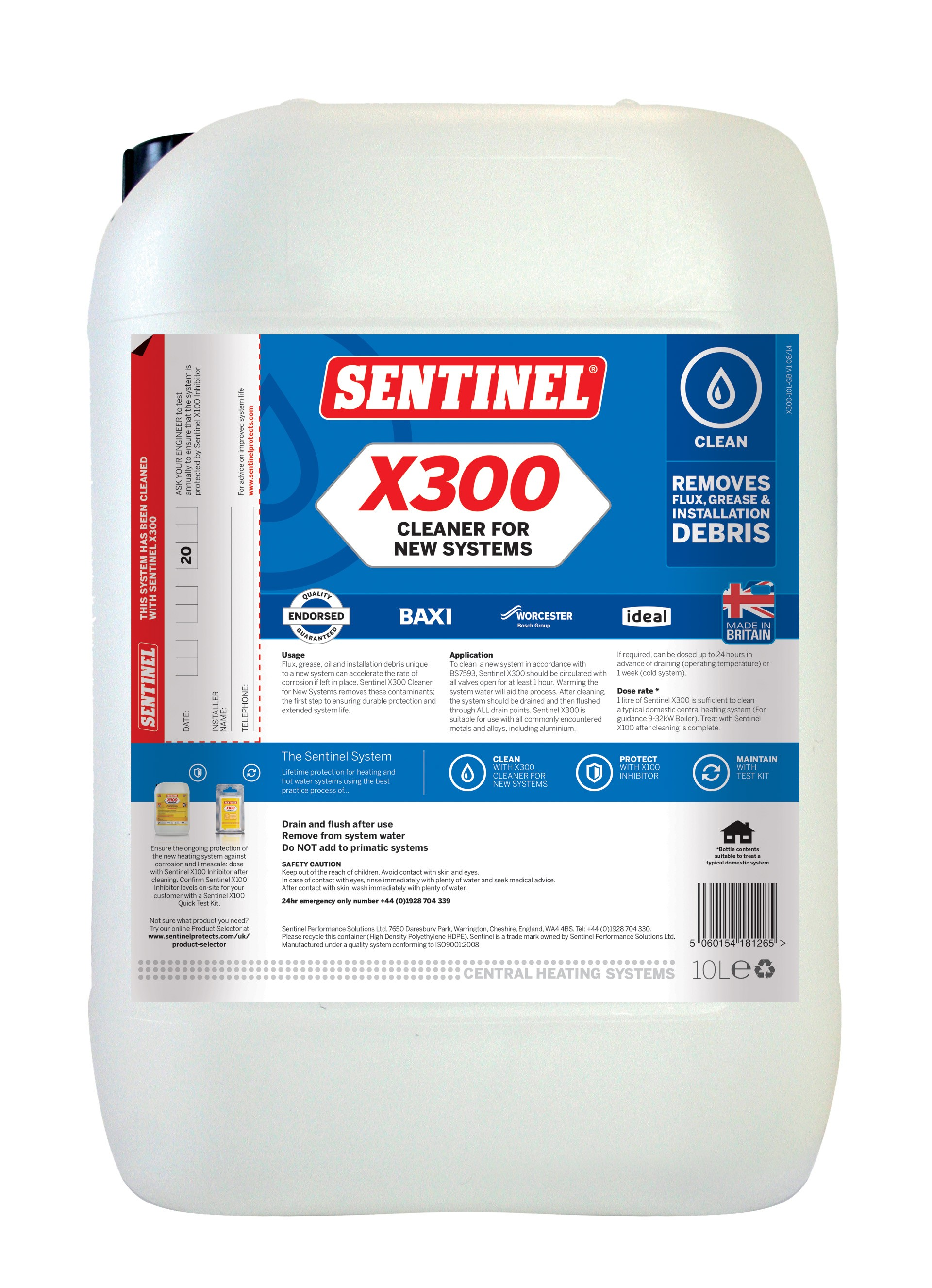 X300 cleaner for new systems sentinel for New heating system