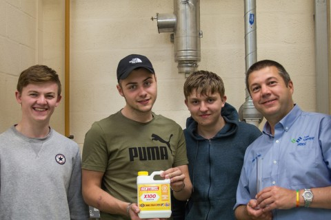 Plumbing students at Llandrillo College are benefitting from Sentinel's in-class water treatment training packs (pictured with Chris Walling (R), Tutor)
