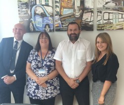 L-R: Ashley Harrison (Building Services Surveyor, Irwell Valley), Anna Norbury (Asset Technical Administrator, Irwell Valley), Lee Smith (Operations Manager, Liberty Gas) and Jane Cawsey (Area Sales Manager, Sentinel)